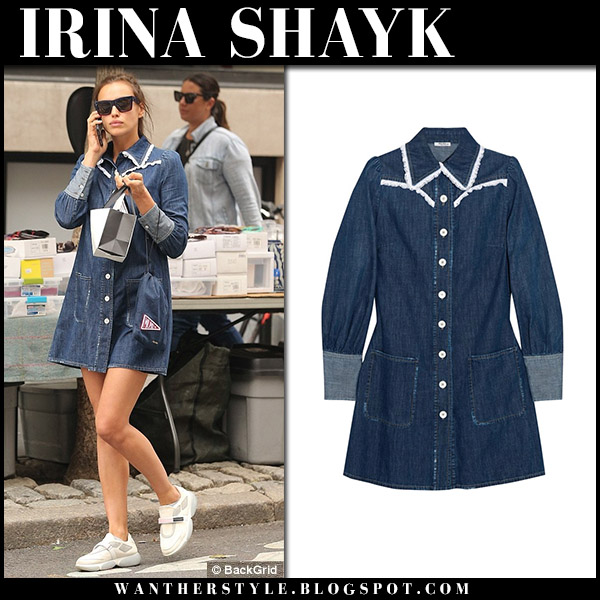 Irina Shayk in denim mini shirt dress miu miu new york fashion week style september 14