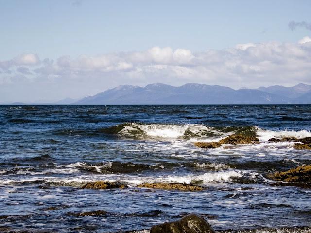 White cap wave on the Strait of Magellan at Fort Bulnes near Punta Arenas Chile