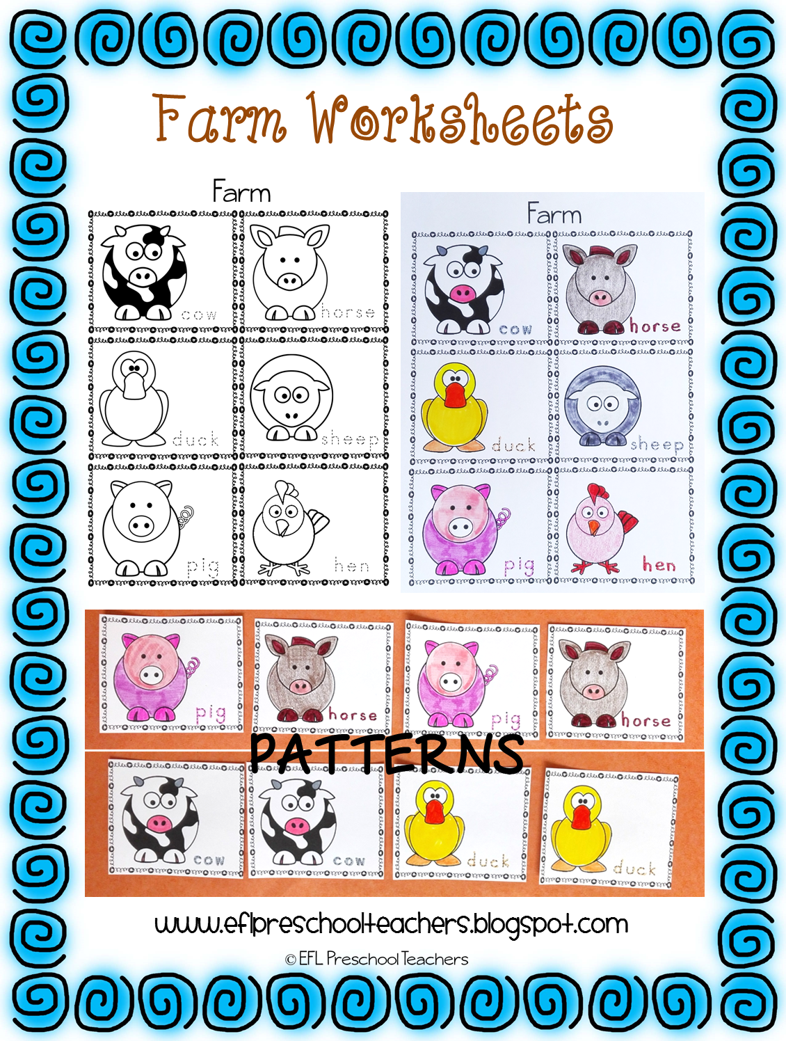 Worksheets Farm Animal Patterns