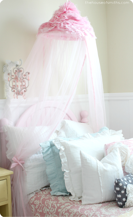 Pink Canopy in Girly Room makeover reveal - thehouseofsmiths.com