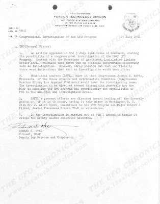 Congressional Investigation of The UFO Program, Letter To General Pierce From Major Friend