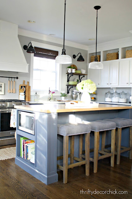 Extending a kitchen island to include space for microwave