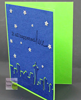 Unity Stamps, Die Cuts, Stamping, Seattle, Space Needle, Blue, Green