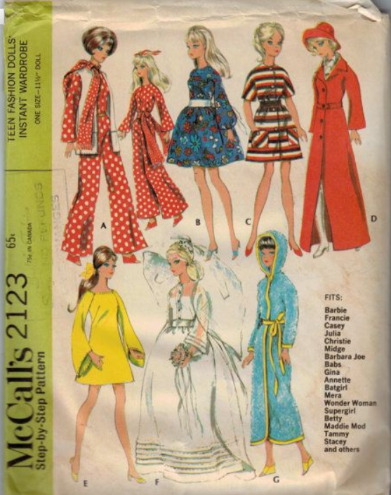 Tricks and manners: Sewing Vintage Doll Patterns: McCalls 2123 View E