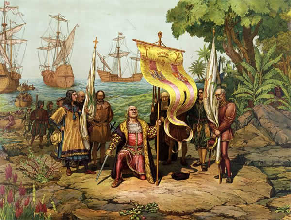 Columbus arrived in the Bahamas in 1492