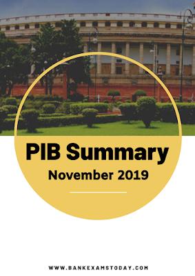 PIB Summary: November 2019