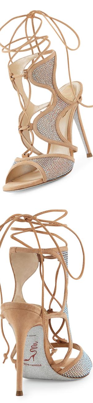 Rene Caovilla Crystal-Embellished Suede Ankle-Wrap Sandal, Beige/Topaz
