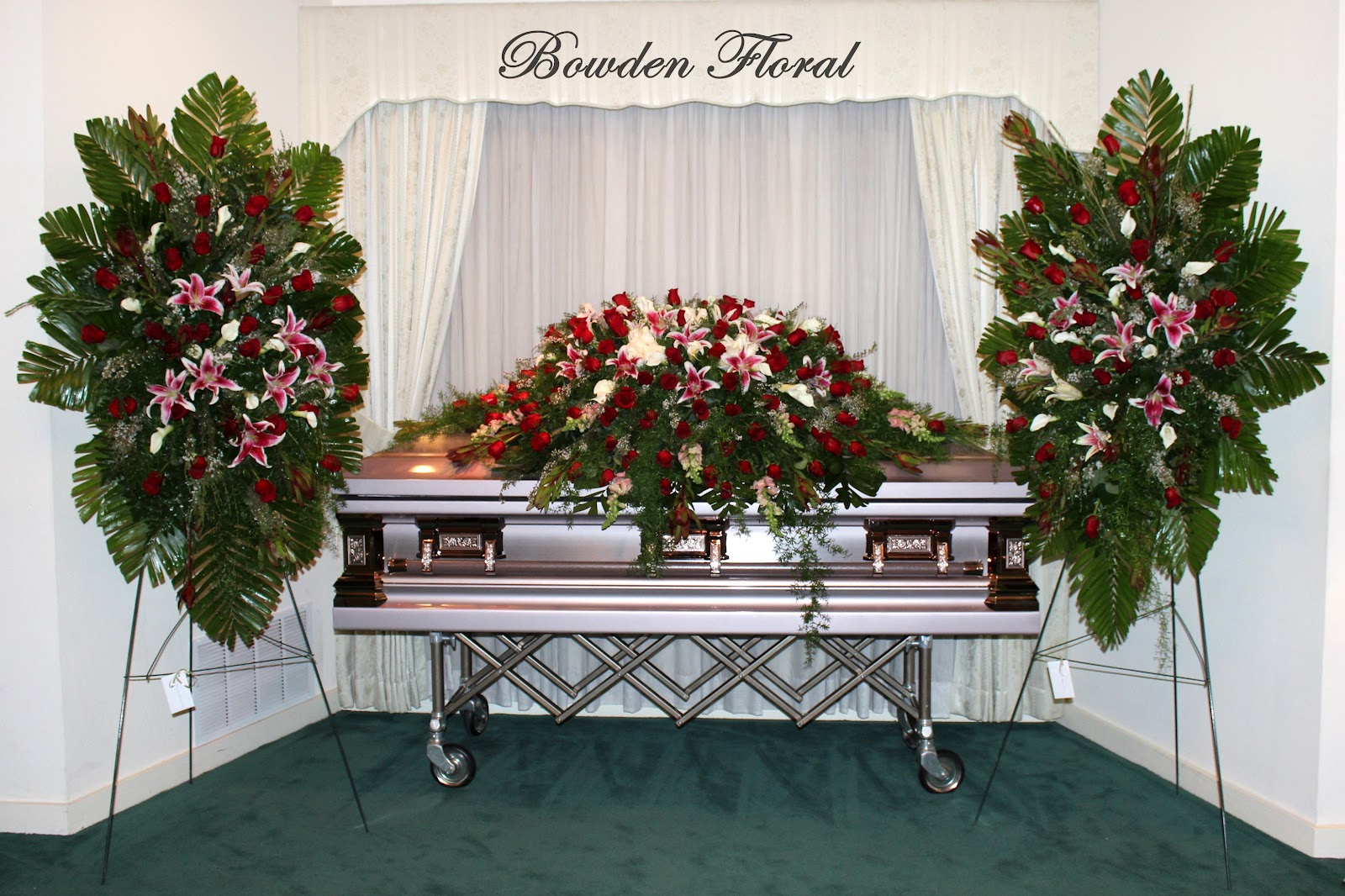 Bowden Floral: Deluxe Casket Spray and Easels  |Casket Flowers