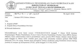 Surat Edaran Pelaksanaan Seleksi PPG Dalam Jabatan Terkait TUK, Pencetakan Kartu & Jadwal Pretes