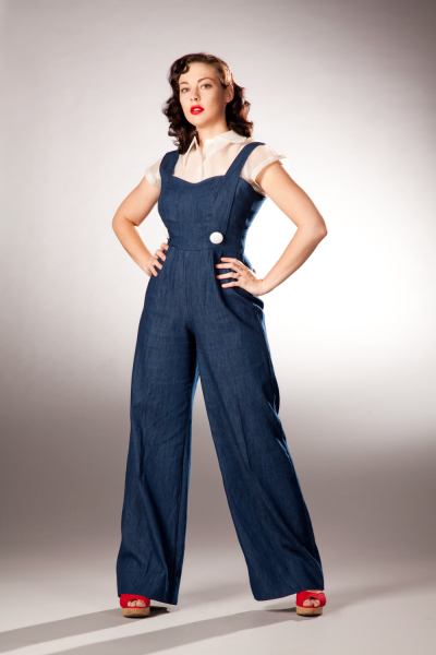 Post War Fashion Today 40s Fashion: 40's Style Work Jumpsuit Made From Dishtowels