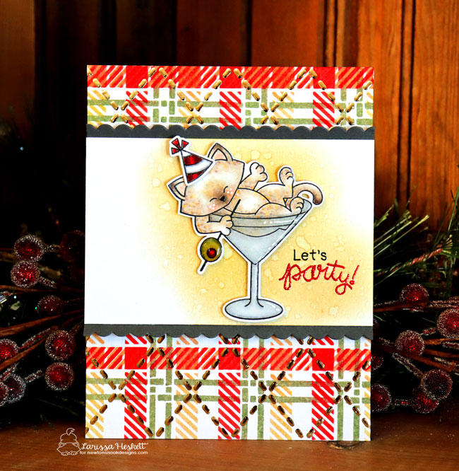 Cat in Martini Celebrate Card by Larissa Heskett | Newton Celebrates Stamp Set and Plaid and Argyle Stencil Sets by Newton's Nook Designs #newtonsnook #handmade
