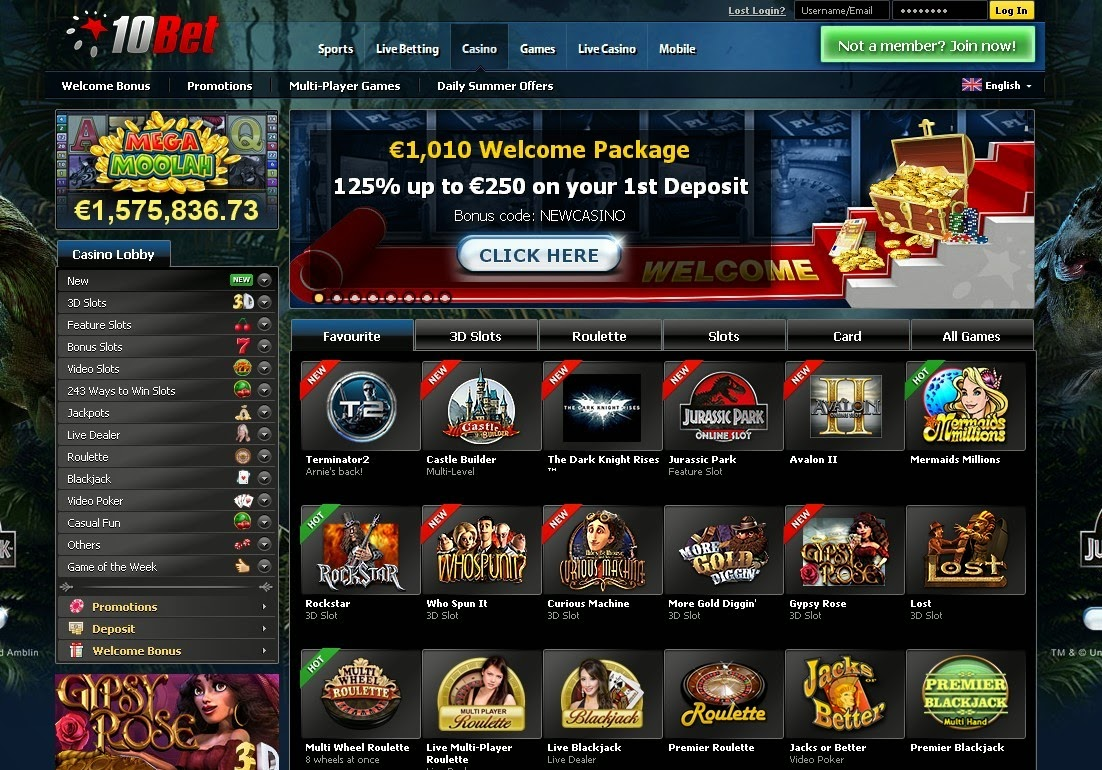 10Bet Casino Screen