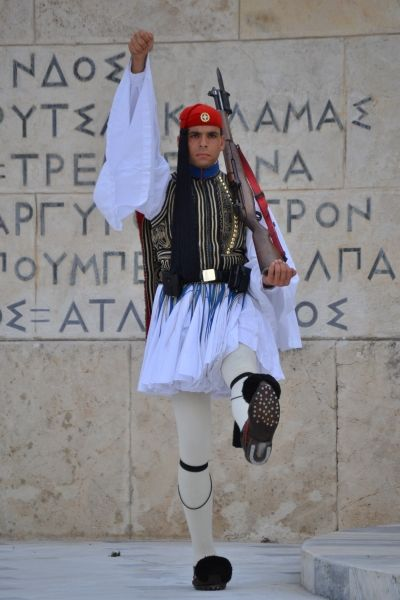 Duty Greek Evzone, Tsolias, guarding the Tomb of the Unknown Soldier Athens