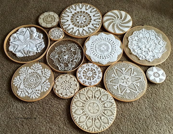 vintage crochet doilies on embroidery hoops collage. Black Bedroom Furniture Sets. Home Design Ideas