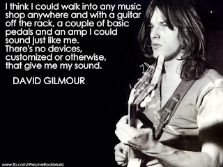 I think I could walk into any music shop anywhere and with a guitar off the rock, a couple of basic pedals and an amp I could sound just like me. there's no devices, customized or otherwise, that give me my sound. David Gilmour