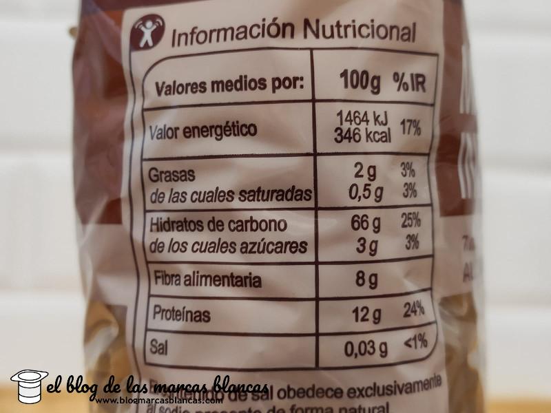 Información nutricional de los macarrones integrales Carrefour fabricados por Pastas Gallo.