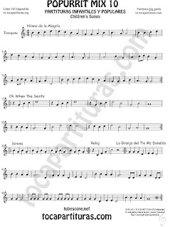 Mix 10 Partitura de Trompeta y Fliscorno Himno de la Alegría. Oh When the Saints, Sirena, Reloj y La Granja del Tio Gilito Popurrí Mix 10 Sheet Music for Trumpet and Flugelhorn