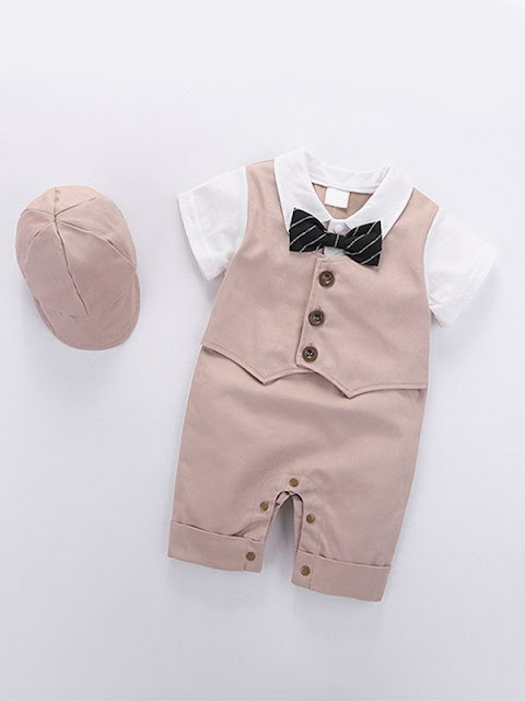 2-piece Romper Hat Set Pullover Bow-knot Formal Style Summer Jumpsuit for Baby Boys Wholesale