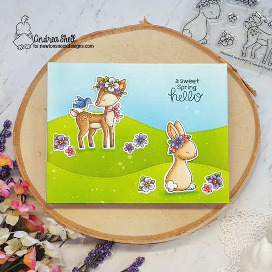 Spring Deer and Bunny card by Andrea Shell | Woodland Spring Stamp Set and Land Borders Die Set by Newton's Nook Designs #newtonsnook #handmade