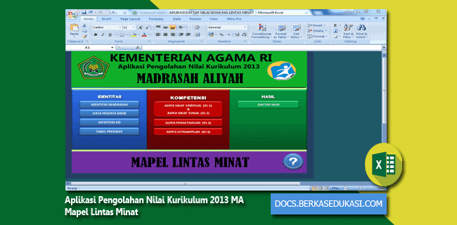 Aplikasi Pengolahan Nilai Kurikulum 2013 MA Mapel Lintas Minat