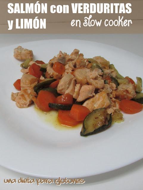 Salmón con verduritas y salsa de limón (en slow cooker)