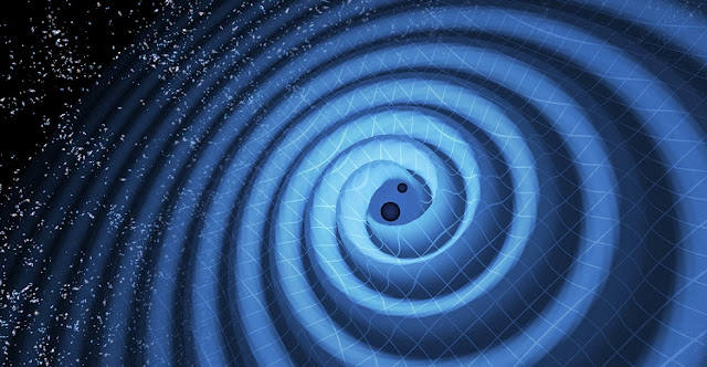 The illustration shows how two black holes merge. This causes gravitational waves to emerge.  Foto: LIGO / T. Pyle