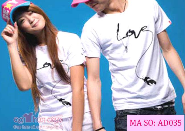 Áo Cặp Love Màu Trắng Mã AD035