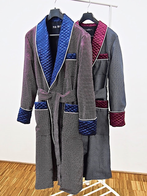 Men's silk dressing gowns quilted robes long