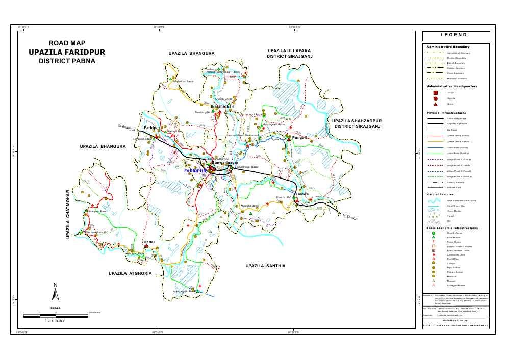 Faridpur Upazila Road Map Pabna District Bangladesh