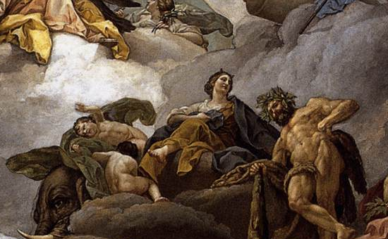 """Providence Presiding over the Virtues and Faculties of Man"" (cropped) by Francisco Bayeu y Subías (late 18th century)"