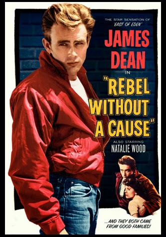 Colour Film Poster with picture of James Dean in red jacket for A Rebel Without a Cause