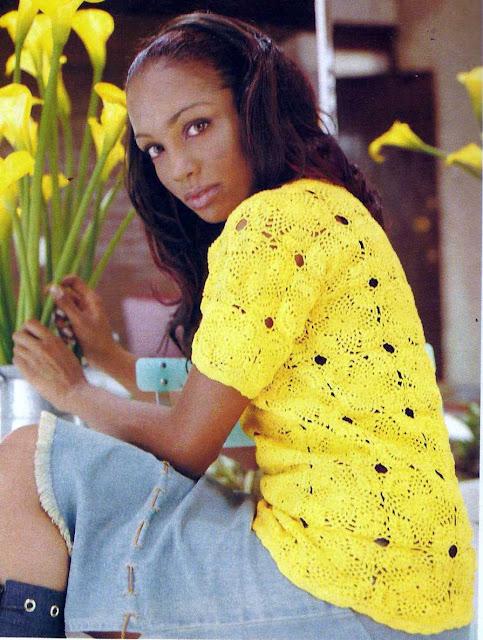 Patrón #1120: Blusa Amarilla a Crochet