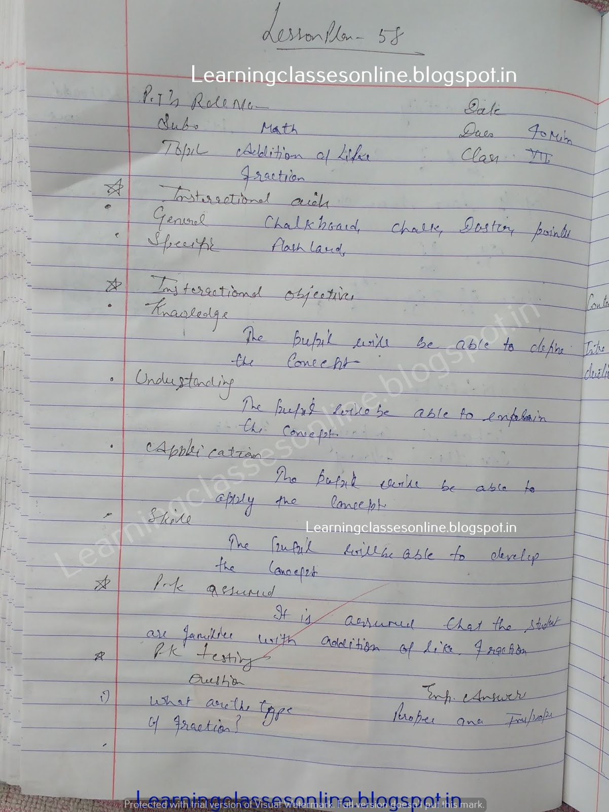 Mathematics Teaching Lesson Plan on addition of like fraction -  How to make Lesson Plan ?