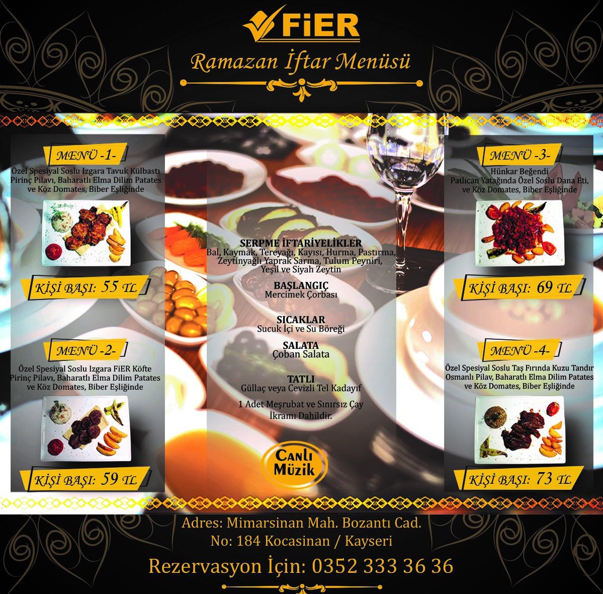 fier otel restaurant kayseri iftar menü