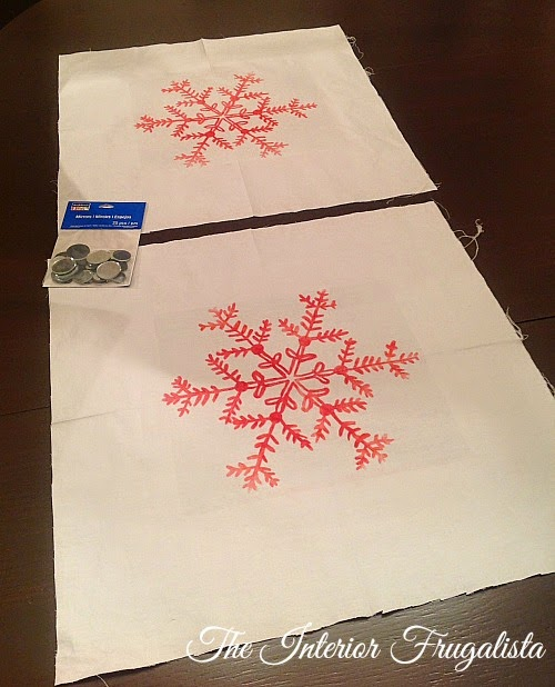 Image transfer onto DIY Holiday Snowflake Pillows