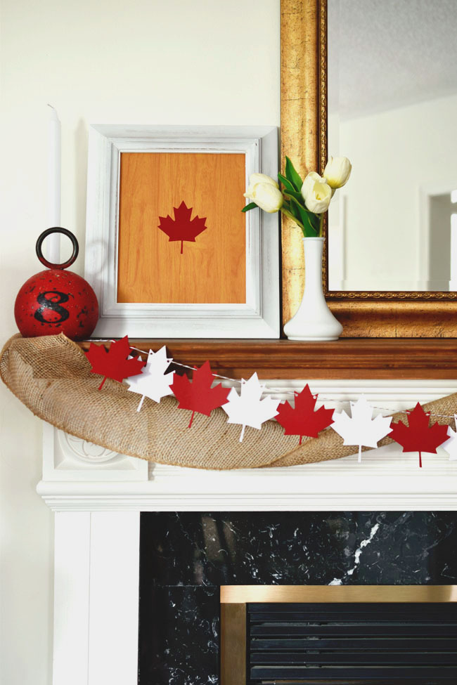 Canada Day maple leaf garland and framed art cut with Cricut Explore Air