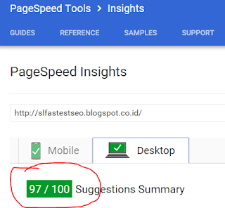 screen shot kecepatan di test PageSpeed Google baik Desktop