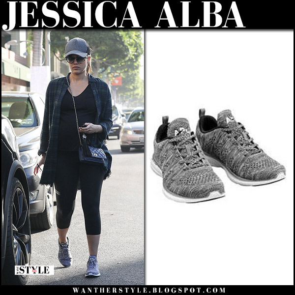 Jessica Alba in green plaid shirt, black leggings and grey sneakers apl techloom pro maternity fashion december 27