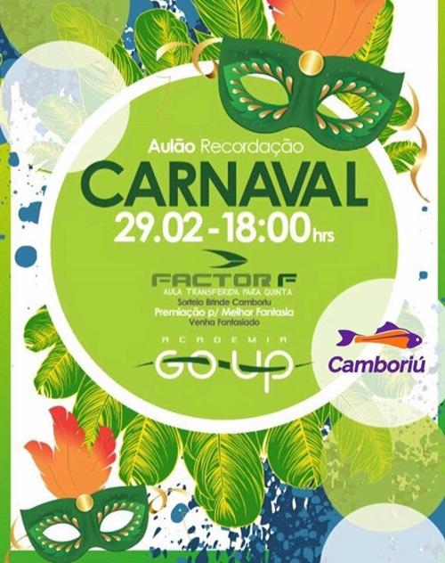 Aulão Recordação do Carnaval será realizado na academia Go Up