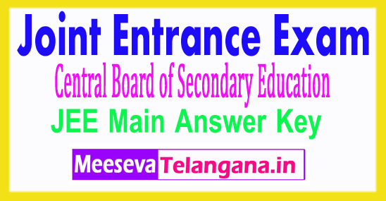 Joint Entrance Exam JEE Main 2018 Answer Key Download