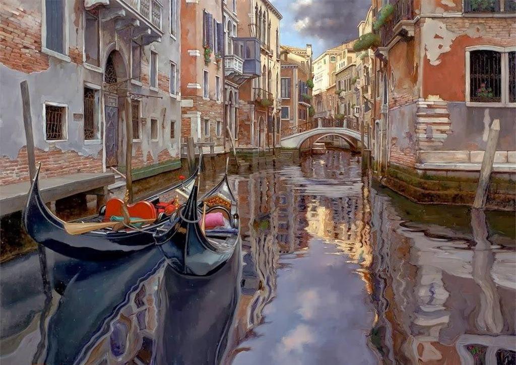 Cuadros Modernos Pinturas y Dibujos : Realismo: Paisajes venecianos ...