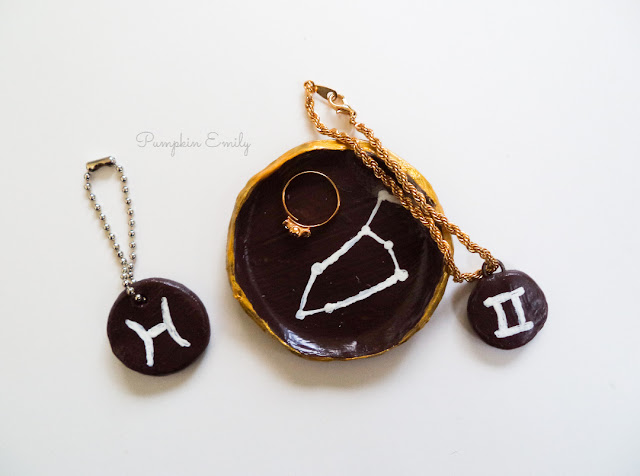 Zodiac polymer clay bowl and charms.