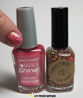 Bottle shot:  Wet 'n Wild Lavender Pearlescent and Happy Hands Sunshine, Lollipops and Rainbows.