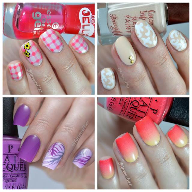 gingham palms wedding summer gradient nails video tutorial