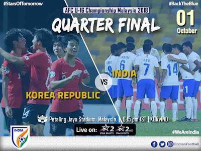 Live Streaming South Korea vs India AFC U16 1.10.2018