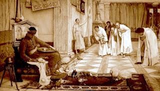 El emperador Cömodo, recibiendo en palacio a algunos cortesanos