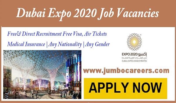 Urgent Dubai Expo jobs and careers, Dubai expo jobs with free visa,