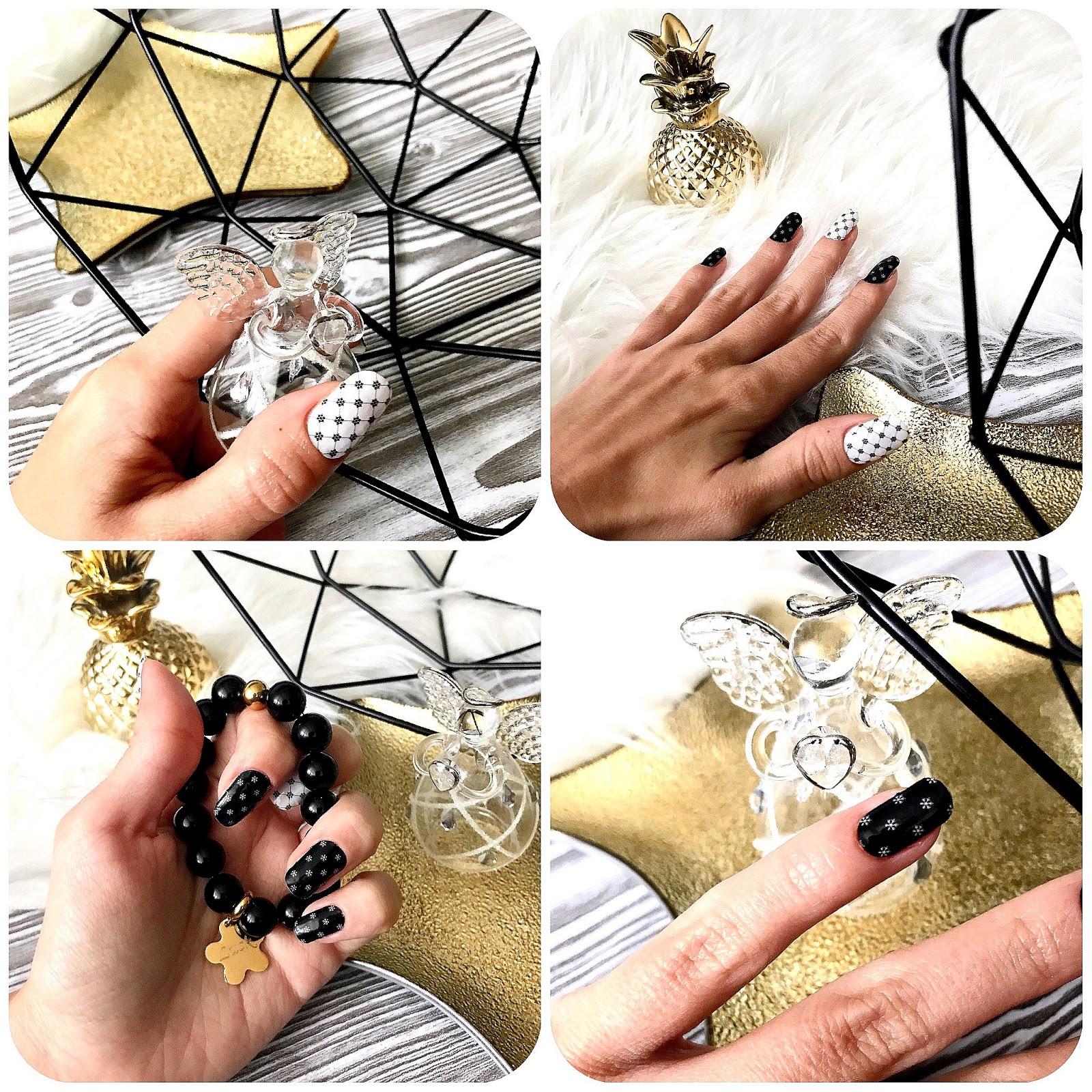 zdjęcie przedstawiające wzór Manirouge Snow and black na paznokciach
