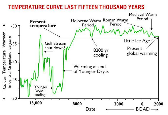 This temperature graph shows the sudden cooling at the beginning of the Younger Dryas and an equally sudden warming at the end of the Younger Dryas