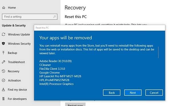 Cara Aman Reset Windows 10 Versi 1803 Tanpa Menghapus File Pribadi